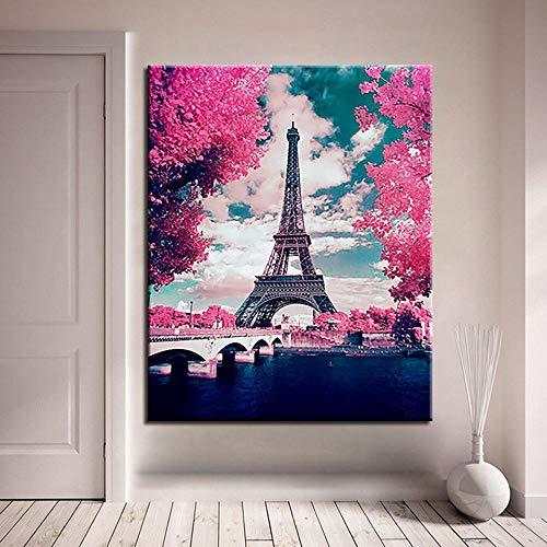 Pittura Fai-da-Te per Numeri Torre di Parigi Immagini ad Olio su Tela Dipinti a Mano Fiori di ciliegio Colorazione Soggiorno Arte della Parete Regali Unici