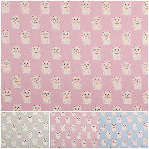 DIE NÄHZWERGE Baumwollstoff Motivkollektion Winkekatze – Meterware ab 50cm, 3 Farben | 100% Baumwolle – Nähen Quilten Kinderstoff Tiere Katze Maneki-Neko (rosa)