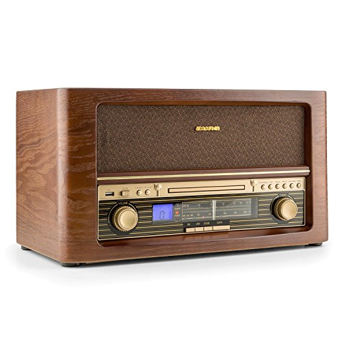 auna Belle Epoque 1906 - Stereoanlage, Retroanlage, Radio-Tuner, UKW, LCD-Display, CD-Player, MP3-fähig, USB, Digitalisierungsfunktion, Fernbedienung, Holz Gehäuse, braun