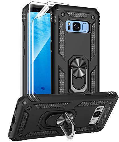 Samsung Galaxy S8 Case with HD Screen Protectors (NOT fit S8 Plus), Androgate Military-Grade Metal Ring Holder Kickstand 15ft Drop Tested Shockproof Cover Case for Samsung Galaxy S8 (2017) Black