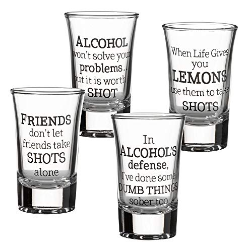 Lillian Rose Party Shot Glasses Set of 4, 1.5oz, Clear
