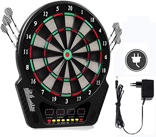 Oppikle Elektronische Dartscheibe - Dart Scheibe E Dartboards Dartautomat mit 6 Dartpfeile - 27 Spielen und 243 Varianten für 16 Spiele