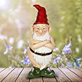 """Exhart Naked Gnome Garden Statue - Funny Resin Gnome Statue w/Long White Beard Wearing Only Red Gnome Hat, Black Belt, and Green Elf Boots, Naked Elf Resin Decor, 4.5"""" L x 5.5"""" W x 13.65"""" H"""