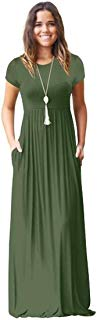 Meou & Moi Women's Short Sleeve Loose Fit Casual Maxi Dress with Pockets (XXXL, Green)