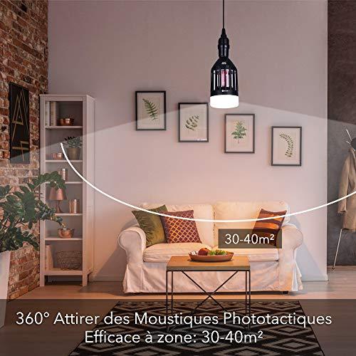 Lampe Anti Moustique - 9W LED Lampe Anti Moustique Exterieur – UV Anti Moustique Efficace Portée 30-40m², Attrape Moustique Electrique Interieur Destructeur D'insectes Piège a Moustique Maison