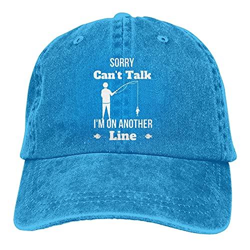 Gymini Sorry Can't Talk I'm On Another Line - Gorras de béisbol lavables de algodón para hombre y mujer, color azul