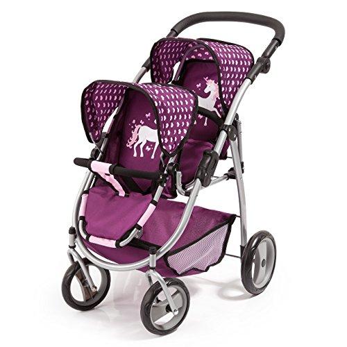 Bayer Design 26537AA Zwillingspuppenwagen für Puppen, modern, höhenverstellbarer Griff, zusammenklappbar, Pflaume, rosa, Einhorn