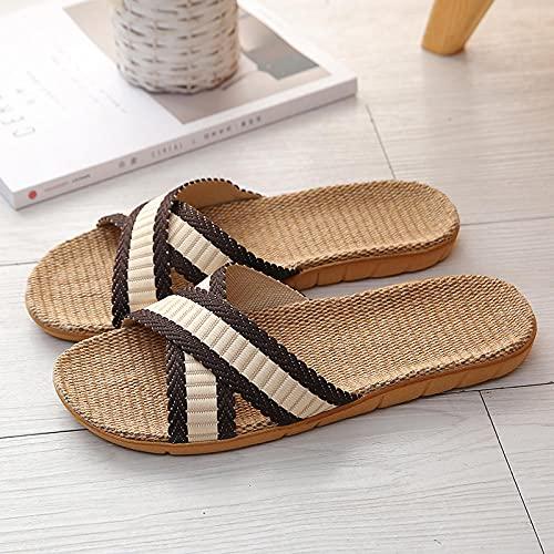 ypyrhh Sandalias Playa,Zapatillas de Interior de la Saliva de los conguealos, Silencio en casa Cuatro Estaciones Zapatillas-marrón_44-45,Chanclas Hombre