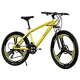 HDGTSA 26 Inch Mountain Bikes High Carbon Steel Folding Outroad Full Suspension MTB Dual Disc Brake Riding Travel Go Working Mountain Cycling for Men Women (A Yellow)