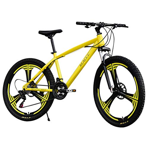 Outroad Mountain Bike, Unisex High Carbon Steel Dual Suspension Frame Mountain Bicycle with 21 Speeds Drivetrain (Yellow -1)