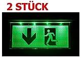 Lot de 2Lampe d'urgence Éclairage d'urgence Exit sortie de secours fuite Lampadaire Lumière d'urgence fuite Chemin avec flèche vers le bas