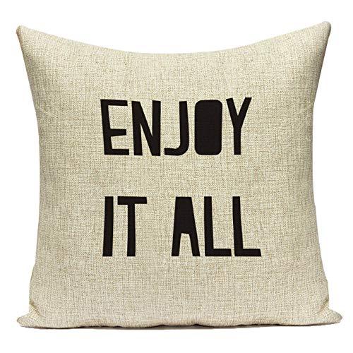 Fundas de Cojín Funda de Almohada Decorativa Carta de Lino de algodón Enjoy It All Funda de cojín de sofá geométrico para decoración de Sala de Estar Funda de Almohada Decorativa Almohada Fundas