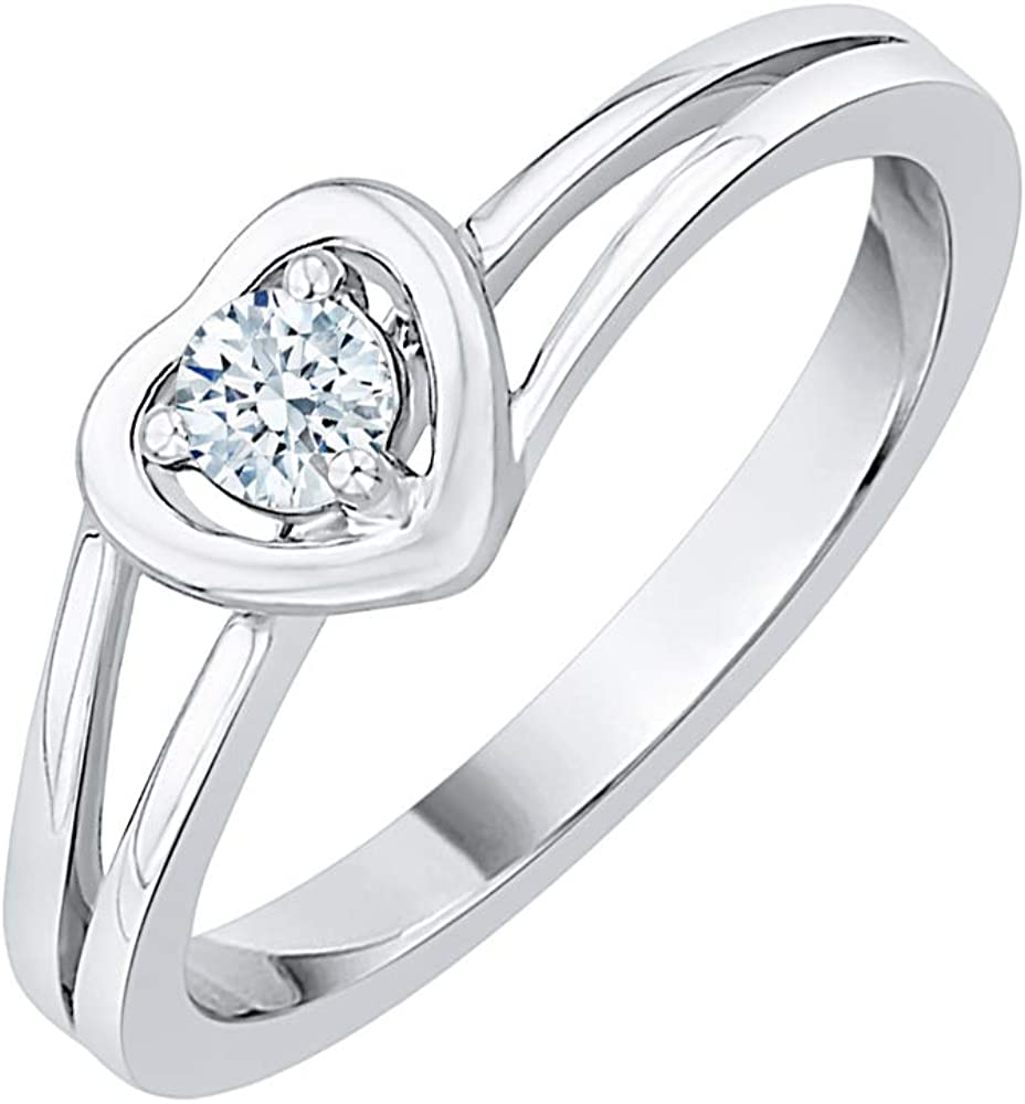 KATARINA Diamond Heart Promise Ring in We OFFer at cheap prices discount cttw 8 1 J-K Gold 14K