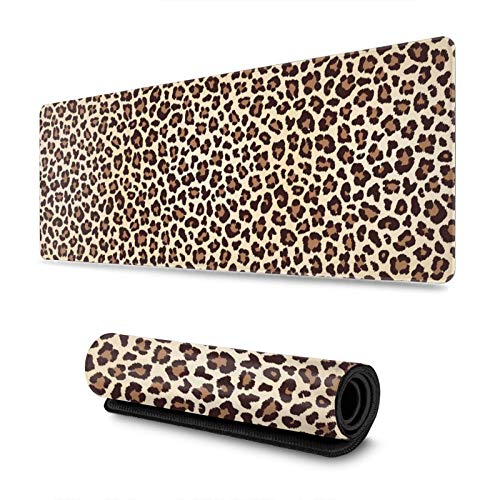 Leopard Print Animal Skin Large Gaming Mouse Pad Long Huge XL Size Mouse Mat Giant Mousepad 31.4 X 11.8Inches Full Desk Mouse Pad