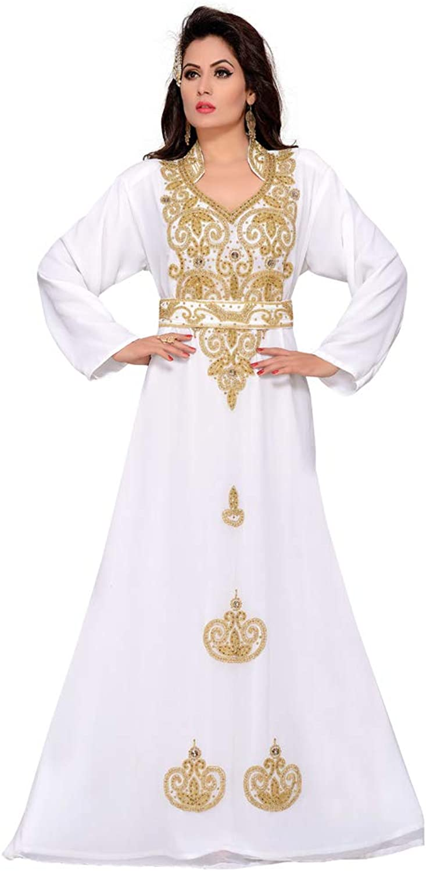 Arabic attire Women's Muslim Wedding Kaftan Abaya with gold Hand Beaded Embroidery White