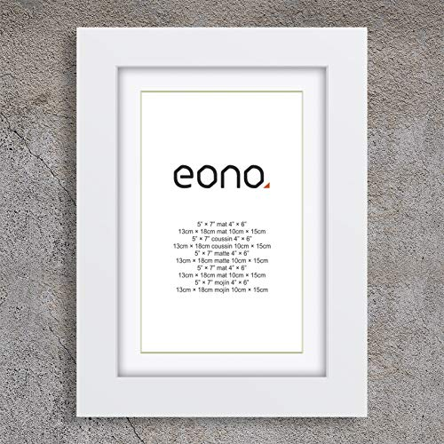 Eono by Amazon - Marco de Fotos de Madera Maciza y Cristal de Alta Definición para Pared Fotos de 10x15 cm con paspartú y de 13x18 cm sin paspartú Blanco