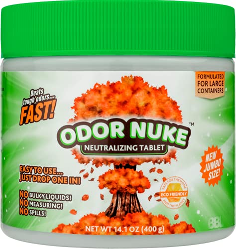 ODOR NUKE Bedside Toilet Deodorizer Tablets - Human Urine Odor Neutralizer & Washing Aid For Large Portable Urinal Containers - 2x Original Size (14.1oz)