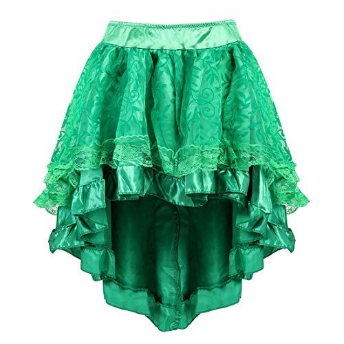 Blidece - Falda de satn estilo gtico vintage con cremallera para mujer - Verde - cintura natural:24/28'/S/M