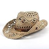 Simple Playa Salvaje Fresco Moda Verano Mujer Hombre Western Cowboy Hat Roll-up ala Ancha Cowgirl Jazz por diseño Original Ocio Viajes Protector Solar Transpirable (Color : Negro, tamaño : 56-58CM)