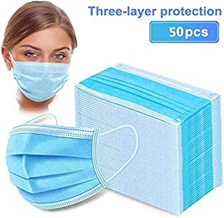 50pcs Disposable Earloop Face Mask,Breathable Non-Woven Dust Filter Face Mask, Breathable and Comfortable for Dust, Pollen...