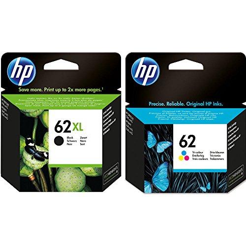 Confezione da 2 cartucce d'inchiostro HP: 1 x 62XL nero (C2P05AE), 1 x 62 colori (C2P06AE)