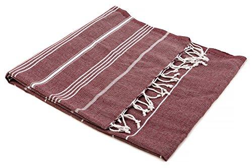 The Turkish Emporium Pestemal toalla de baño playa con diseño de rayas y con flecos, burdeos, 100 x 180 cm