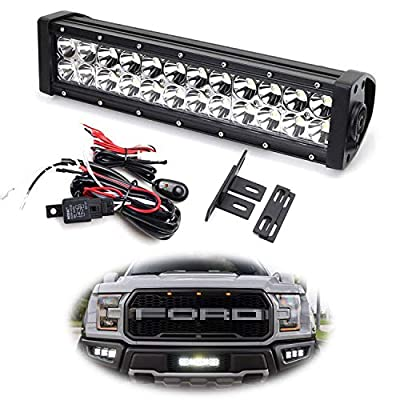 iJDMTOY Behind Grille LED Light Bar Kit Compatible With 2017-up Ford Raptor, Includes (1) High Power Double Row LED Lightbar, Inside Grill Mesh Mounting Brackets & Relay Wire Switch