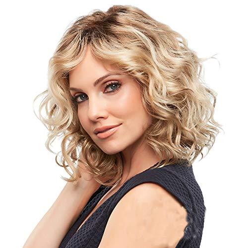 TIREOW Perücke Damen Mode Synthetische Gold Kurze Lockige Anti-Warping Haar Perücke Wasserwelle Haar Perücken