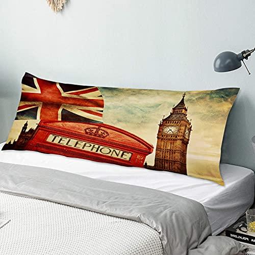 Personalizado Funda de Almohada Larga,Símbolos de Londres Inglaterra Cabina de teléfono roja Big Ben y la Bandera nacion,Funda de Almohada para el Cuerpo con Cremallera Sofá para Dormitorio,54' x 20'