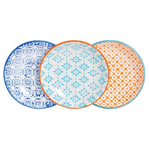 Nicola Spring 3 Piece Hand-Printed Sauce Dish Set - Small Japanese Style Porcelain Salsa Dipping Plates - 3 Colours - 10cm
