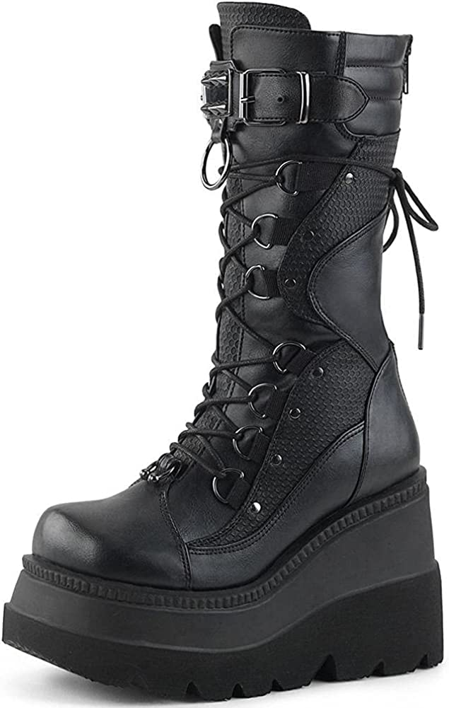 Mikarka Womens Holographic Platform Mid Calf Combat Boots Lace Up Wedge Heel Studded Goth Knee High Boots