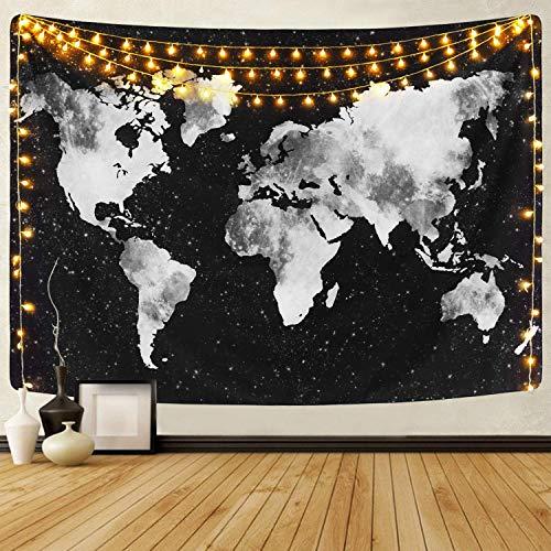 Dremisland Wandteppich Indisch Mandala Hippie Bohemien Mandala Wandtuch Weltkarte Tapisserie Schwarz & Weiß Wandbehang Tapestry für Wohnzimmer Schlafzimmer Dekor (Schwarz Weltkarte, L / 148x200cm)