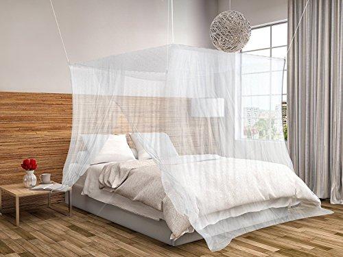 Mosquitera de cama cuadrada 2x2x2m KillMoustik ✮ Travel Earth ✮ Formato grande + Fijación y soporte incluido + 1 puerta integrada + Bolsa de transporte incluida. La mejor mosquitera de cama!