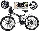 Bicicleta electrica Bicicleta eléctrica plegable de ebike, bicicletas de nieve de 500 vatios, 21 velocidades 3 Modo Pantalla LCD para adultos de suspensión completa 26 'ruedas Bicicleta eléctrica para