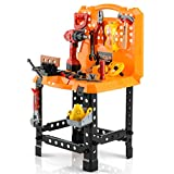 Toy Choi's 83 Pieces Kids Construction Toy Workbench for Toddlers, Kids Tool...
