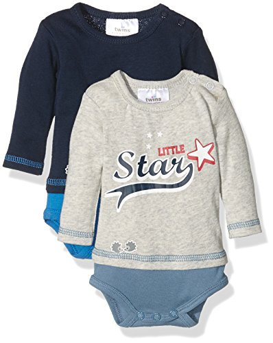Twins Unisex Baby Body langarm Little Star, 2er Pack, Blau (marine 3011),...