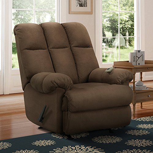 Higly Comfortable Padded Massage Rocker Recliner, Makes Tour Space Complete, Designed with Dual Zones to Work Your Muscles Together or Separately, Suitable for Any Home, Chocolate + Expert Guide