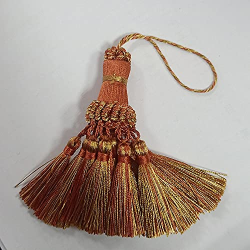 ZYHYCH 1/2/4 Pcs/lot Small Tassel Fringe Trim Craft Tassels,Curtain Hanging Pendant DIY Room Accessories Key Tassel Wedding,Orange,1PCS