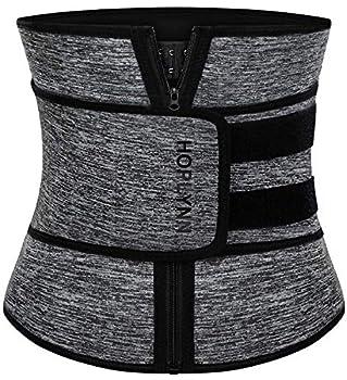 HOPLYNN Neoprene Sweat Waist Trainer Corset Trimmer Shaper Belt for Women  Workout Plus Size Waist Cincher Stomach Wraps Bands Medium Grey