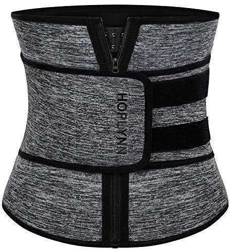 HOPLYNN Neoprene Sweat Waist Trainer Corset Trimmer Belt for Women Weight Loss, Waist Cincher Shaper Slimmer Gray X-Large