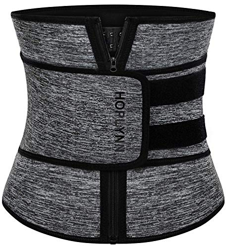 HOPLYNN Neoprene Sweat Waist Trainer Corset Trimmer Shaper Belt for Women , Workout Plus Size Waist Cincher Stomach Wraps Bands X-Large Grey