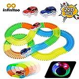Infinitoo - Magic Tracks - Juego de carreras, 2 coches de carreras flexibles con 3 luces LED, pistas flexibles, circuitos brillantes visibles en la oscuridad, para niños pequeños, 220 unidades de neón