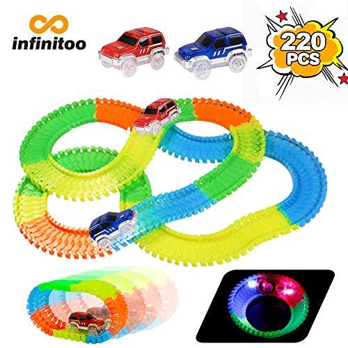 infinitoo 220 Stück Neon Teile Magic Glow Tracks Racer Set, 2 beleuchtete Rennwagen Flexible Autos mit 3 LED-Lichtern, biegbare Magic Glow Tracks im Dunkeln Racetrack für Kinder und Kleinkinder