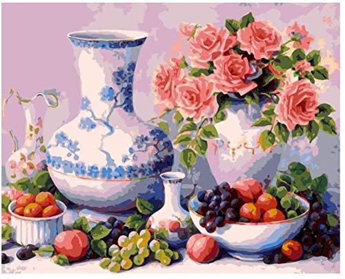 Schilderen op cijfers, om te knutselen, roze, bloemen, druiven, fruit, delicate vaas voor volwassenen, 40 x 50 cm (zonder lijst). Without Frame Cjfc2611
