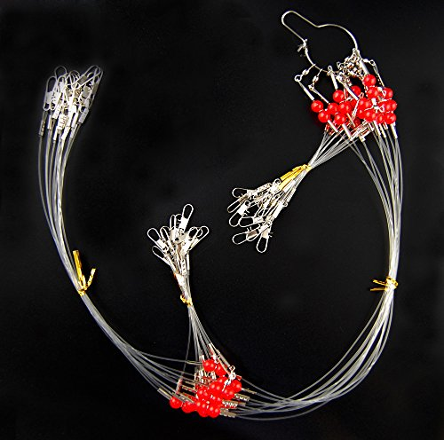 Fishing Rigs Wire Trace Leader Rig 12PCS Fishing Tackle Lure Rig with Swivel Snaps Beads Nylon Line Fishing Wire Leaders 21.7IN (2 Arm)