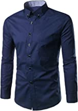 Mens Dress Shirts Slim Fit Long Sleeve Casual Button Down Solid Tee T-Shirt Tops Blouse Pullover Jumper Sweatshirts