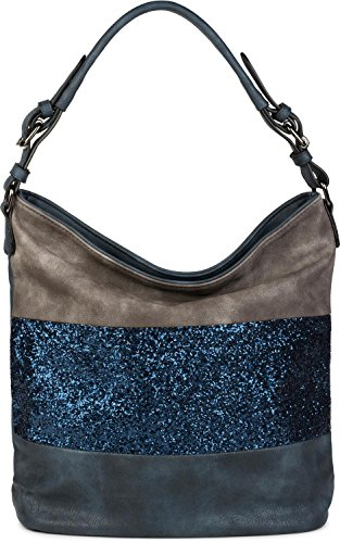 styleBREAKER edle 2-farbige Hobo Bag Handtasche mit Pailletten Streifen, Shopper, Schultertasche, Tasche, Damen 02012181, Farbe:Dunkelblau/Grau