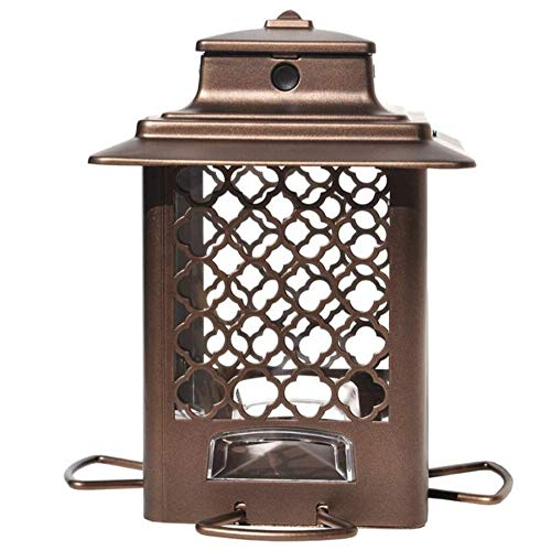 Stokes Select Bird Feeder, Metal Hopper Bird Feeder, 4 Feeding Ports, 3.6 lb Bird Seed Capacity, Copper Finish
