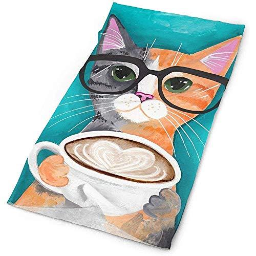 chipo Kopfbedeckung Kaffee Katze Illustration Gedruckt Bandana Sturmhaube Bekleidungszubehör Stirnband Radfahren 25X50CM 16-in-1 Sport Kopfbedeckung Yoga Angeln