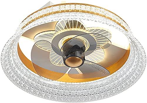 Ventiladores de Techo con Luces y Ventilador silencioso Remoto Techo Techo Techo 3 Velocidad LED Luz de Techo Luz Redonda Araña para Dormitorio Sala de Estar Salón LED LUZ Ajuste, Negro Mengheyuan